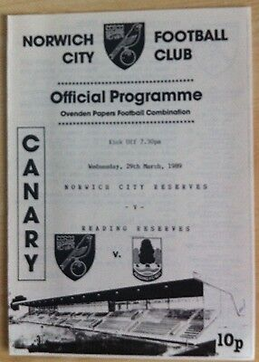 Norwich City Reserves v Reading Reserves - 29th March 1989