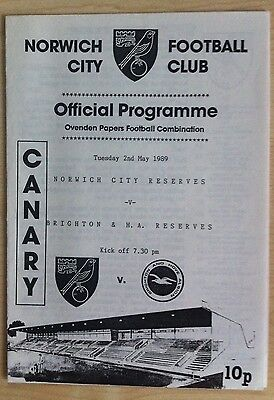 Norwich City Reserves v Brighton & Hove Albion Reserves - 2nd May 1989