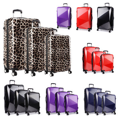 Suitcase Leopard Print Trolley Hard Shell 4 Wheel Spinner Luggage KONO