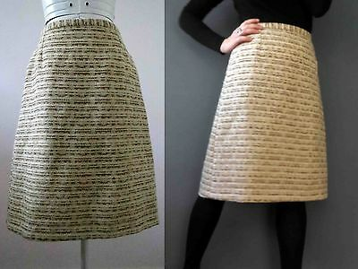 80s Ivory Tan Wool Boucle Pencil Skirt S 40 Medium 3+ items for FREE Postage