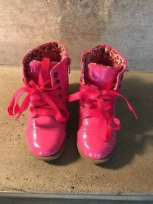 Girls Kids Toddler Size 7 Hot Shiny Pink Doc Style Winter Boots Shoes Euc