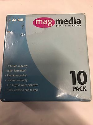 Mag Media 3.5 HD Diskettes 1.44mb IBM 10 Pack New Sealed