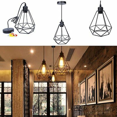 Cage Industrial Vintage Retro Ceiling Pendant Lamp Hanging Light Fixture Fitting