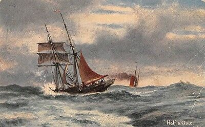 Half a Gale, France Painting, Sailing Vessel Ship Boat