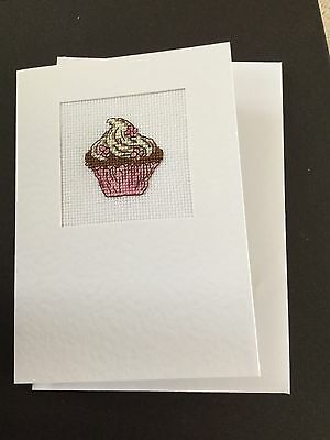 Completed Food Cross Stitch Card - Cupcake