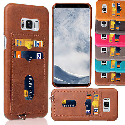 Slim Leather Card Pocket Impact Protection Case Cover For Samsung Galaxy S8 Plus