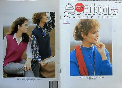 Patons Knitting Pattern Book Of Ladies Classic 8 & 12 Ply Designs In Sizes 8-18