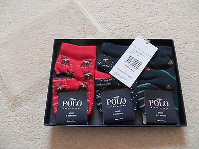 BNWT Boys Ralph Lauren Christams Gift Box Set of 3 Pairs of Socks Age 6-12 mnths