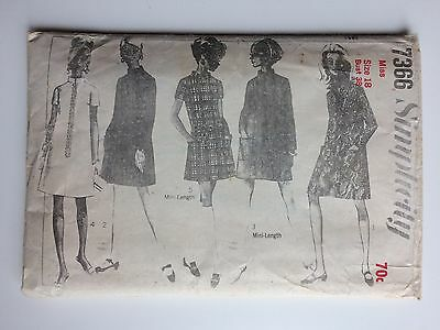 VINTAGE 60s SIMPLICITY UNCUT Sewing Pattern 7366 STEP IN DRESS Size 18