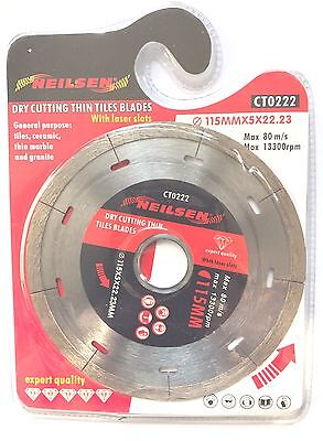 "Neilsen 115 mm 4.5 "" Dry Cutting Tile Cutter Disc Angle Grinder Ceramic 0222"