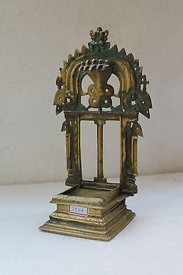 Antique Old Hand Crafted Brass God Holy Religious Bajot With Shrine Kaman RX3584