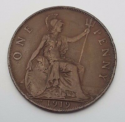 Dated : 1919 - One Penny - Copper Coin - King George V - Great Britain
