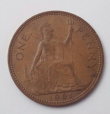 Dated : 1961 - One Penny - Copper Coin - Queen Elizabeth II - Great Britain