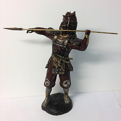Large Japanese Painted Bronze Figure Of A Samurai / Warrior With A Spear 46cm H