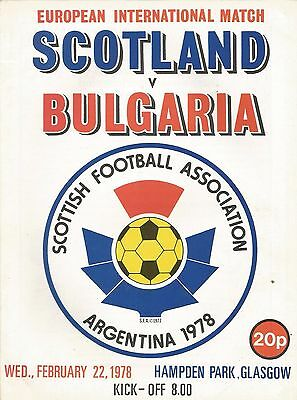 Scotland v Bulgaria, 22.2.1978, Friendly, Hampden Park - very good condition