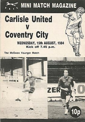 Carlisle United v Coventry City, 15 August 1984, Pre-Season Friendly