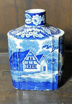 Rare pearlware blue and white transfer printed tea caddy C1830