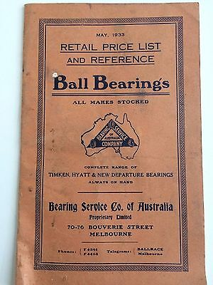 Ball Bearings Retail And Price List Catalogue C1933
