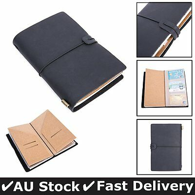 Leather Cover Handmade Bound Notebook Journal Diary Sketchbook Refillable Black