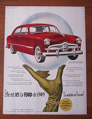 Stunning 1949 Canadian Car Ad Canada Ford Custom French Advertisement