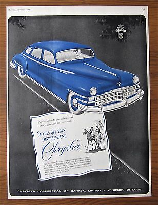 1948 Canadian Car Ad French Canada Dodge Chrysler