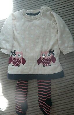 Baby Girls 0-3 months owl dress and tights 2 peice outfit
