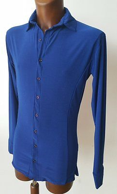 Mens Stretchy Dance Practice Shirt W Buttons For Salsa, Tango, Latin. Royal Blue
