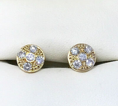 Genuine Diamond Earrings .52Ct Cluster 18Ct Yellow Gold Studs Valuation $2,370