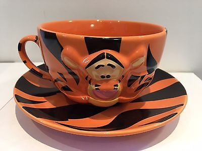 Disney Store Large Tigger Cup/Mug And Saucer Embossed (Winnie The Pooh) Coffee