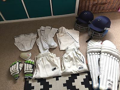 Junior Cricket Bundle Youths Large Age 11-16 Whites Pads Helmet Cup Slazenger GM