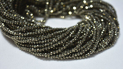 10 Strands 2.10mm Golden Pyrite Faceted Rondelle Gemstone Beads 12.5 Inches