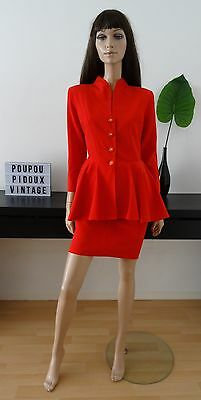 robe vintage 80's DIVA rouge péplum basque volant taille 36 / uk 8 / us 4
