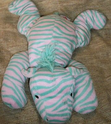 Ty Zulu the green and pink Zebra Pillow Pal plush retired 1996