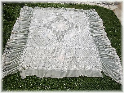 "1900 th EXQUISTE ANTIQUE FRENCH NORMANDY NET LACE COVERLET 79"" x 79"" large size"