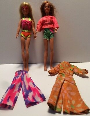 """Vintage Rock Flowers Dolls  Lot Of 2 + Clothes Rock Flowers 🌺7"""" Red Head Blonde"""