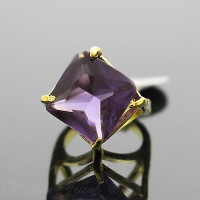 Beautiful Amethyst Purple Cz Yellow Gold Plate Ring Size 5.5 Small Fingers