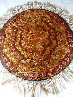 Stunning Antique Doubleside All Handembroidered Silk Tablecloth ART NOUVEAU