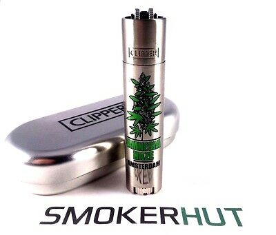 Metal Clipper Lighter - Rare 'Amnesia Haze' Amsterdam - Green Bud With Gift Tin