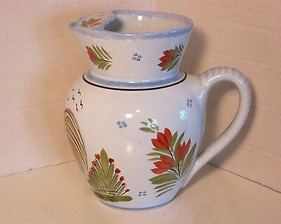 Quimper HB France Blue French Country Pitcher w/Ice Lip F.269 D.485