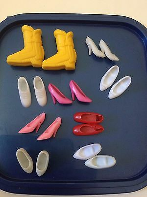 9 pairs of Vintage Barbie Doll Shoes, Kitten Heels, Boots- red, white, pink - K2