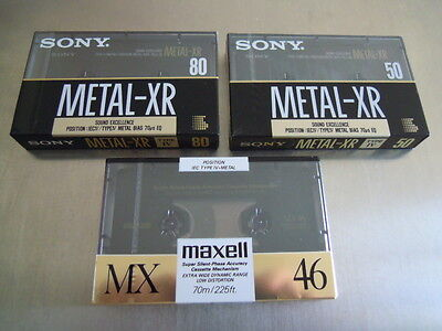 Lotto 3 Cassette Vergini Sony Metal Xr 80 50 Maxell Mx 46 Blank Tape New Sealed