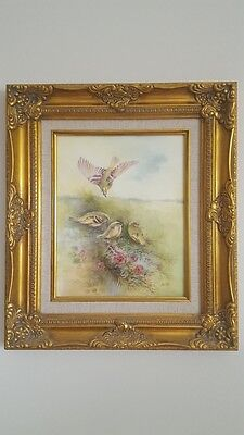 Royal Worcester Ray Poole Pair Of Bird Hand Painted Pictures China Plaque Framed
