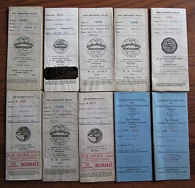 Lot 22 Globe Rutgers Insurance Policies Mostly 1920's Era