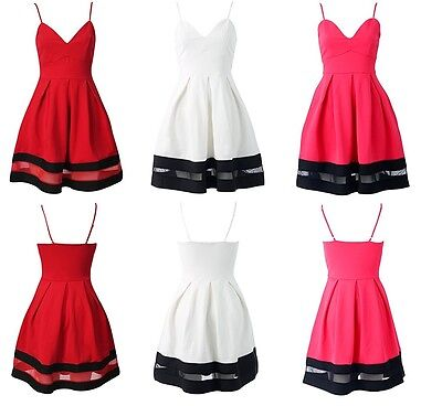 Womens Ladies Cami Skater Dress With Mesh Panel Floral Plain UK Size 8-16