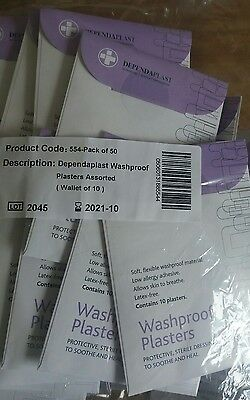 washproof plasters 50 packs of 10 assorted first aid medical supplies job lot