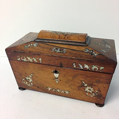 Antique Rosewood Tea Caddy Inlaid With Mother Of Pearl Sarcophagus Shape