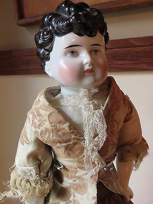 Antique German China Head Doll 1880 Curly Hair Exposed Ears Provenance from 1978