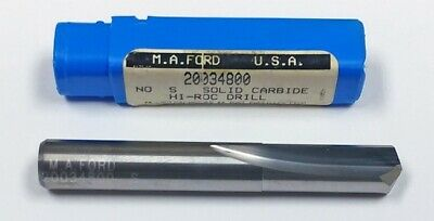 """s"" Straight Flute Carbide Drill, 1"" Loc, 2-1/2"" Oal, 135° Pt, M.a Ford 20034800"