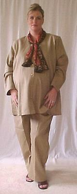 Plus size maternity 2 pc khaki gabardine suit jacket top pants size 24 NWOT