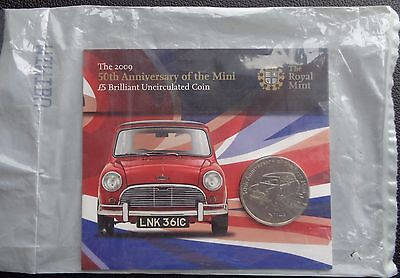 2009 Alderney £5 Bu Coin Pack Royal Mint 50th Anniversary Of The Mini - Sealed